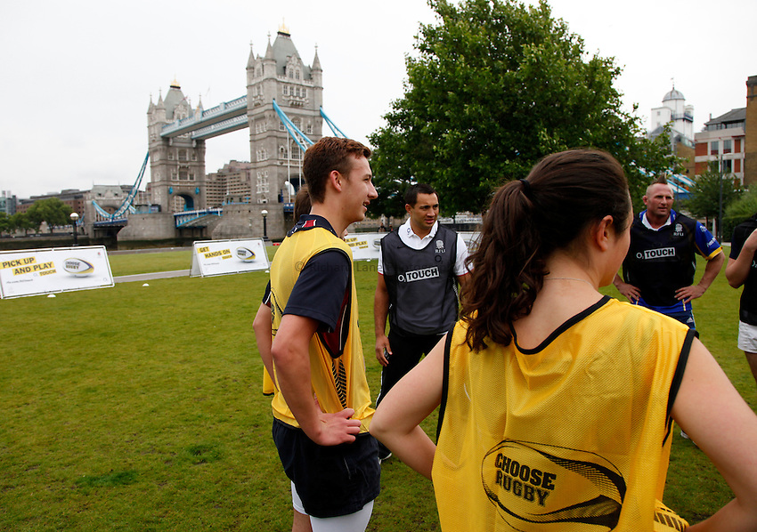 Photo: Richard Lane/Richard Lane Photography. O2 Touch Launch, an RFU initiative aiming to get England playing touch rugby at Potters Field, London. 17/06/2011. Event participants.