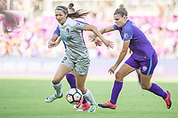 Orlando, FL - Sunday May 14, 2017: Ashley Hatch, Steph Catley during a regular season National Women's Soccer League (NWSL) match between the Orlando Pride and the North Carolina Courage at Orlando City Stadium.