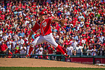 28 September 2014: Washington Nationals starting pitcher Jordan Zimmermann on the mound pitching shut-out ball against the Miami Marlins at Nationals Park in Washington, DC. Zimmermann went on to recorded his first career no-hitter as the Nats defeated the Marlins 1-0 caping the season with the first Nationals no-hitter in modern times. The win also resulted with a 96 win season for the Nats: the best record in the National League. Mandatory Credit: Ed Wolfstein Photo *** RAW (NEF) Image File Available ***