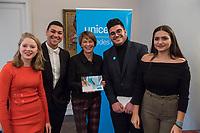UNICEF-Neujahrsgespraech mit Schirmherrin Elke Buedenbender am Dienstag den 29. Januar 2019 im Schloss Bellevue.<br /> Teilnehmerinnen und Teilnehmer:<br /> Elke Buedenbender, Schirmherrin UNICEF Deutschland; Georg Graf Waldersee, Vorsitzender UNICEF Deutschland; Ted Chaiban, Programmdirektor UNICEF International und Jess Mukeba (16), Gymnasiast aus Offenburg, Mitglied des UNICEF Junior-Beirats (1.vl).<br /> Im Bild: Elke Buedenbender (2.vl.) im Gespraech mit Jugendlichen aus, Offenburg, Hamburg und Berlin.<br /> 29.1.2019, Berlin<br /> Copyright: Christian-Ditsch.de<br /> [Inhaltsveraendernde Manipulation des Fotos nur nach ausdruecklicher Genehmigung des Fotografen. Vereinbarungen ueber Abtretung von Persoenlichkeitsrechten/Model Release der abgebildeten Person/Personen liegen nicht vor. NO MODEL RELEASE! Nur fuer Redaktionelle Zwecke. Don't publish without copyright Christian-Ditsch.de, Veroeffentlichung nur mit Fotografennennung, sowie gegen Honorar, MwSt. und Beleg. Konto: I N G - D i B a, IBAN DE58500105175400192269, BIC INGDDEFFXXX, Kontakt: post@christian-ditsch.de<br /> Bei der Bearbeitung der Dateiinformationen darf die Urheberkennzeichnung in den EXIF- und  IPTC-Daten nicht entfernt werden, diese sind in digitalen Medien nach &sect;95c UrhG rechtlich geschuetzt. Der Urhebervermerk wird gemaess &sect;13 UrhG verlangt.]