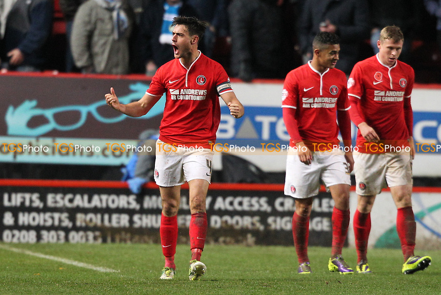 Johnnie Jackson of Charlton Athletic celebrates his equaliser - Charlton Athletic vs Leeds United - Sky Bet Championship Football at The Valley, London - 09/11/13 - MANDATORY CREDIT: Simon Roe/TGSPHOTO - Self billing applies where appropriate - 0845 094 6026 - contact@tgsphoto.co.uk - NO UNPAID USE