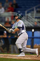 Vermont Lake Monsters third baseman Ryan Howell (4) at bat during the second game of a doubleheader against the Batavia Muckdogs August 11, 2015 at Dwyer Stadium in Batavia, New York.  Batavia defeated Vermont 1-0.  (Mike Janes/Four Seam Images)