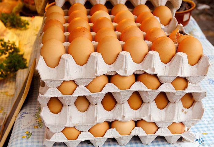 Trays of brown eggs Honfleur market France
