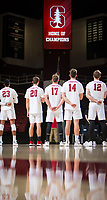 STANFORD, CA - January 5, 2019: Jaylen Jasper, Cole Paullin, Eli Wopat, Kyler Presho, Jordan Ewert at Maples Pavilion. The Stanford Cardinal defeated UC Santa Cruz 25-11, 25-17, 25-15.