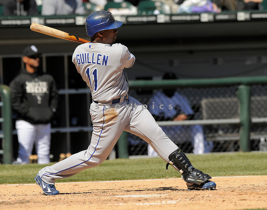 JOSE GUILLEN, of the Kansas CIty Royals, in action  during the Royals  game against the Chicago White Sox  on April 7, 2009 in Chicago, IL.  The White Sox beat  the Royals  4-2 in Chicago,