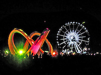 Coachella all lit up for the night on Saturday, April 19th.