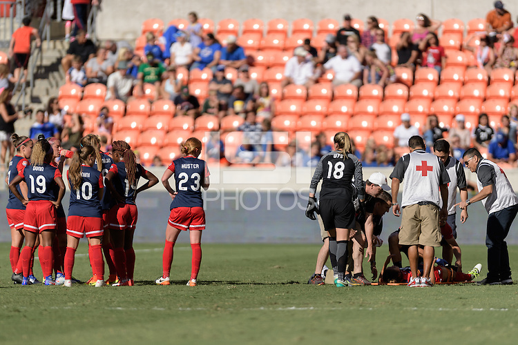 Houston, TX - Sunday Oct. 09, 2016: Washington Spirit, Caprice Dydasco injury during the National Women's Soccer League (NWSL) Championship match between the Washington Spirit and the Western New York Flash at BBVA Compass Stadium. The Western New York Flash win 3-2 on penalty kicks after playing to a 2-2 tie.