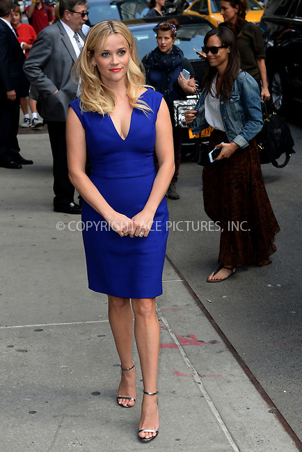 WWW.ACEPIXS.COM <br /> May 5, 2015 New York City<br /> <br /> Reese Witherspoon arrives to tape an appearance on the Late Show with David Letterman on May 5, 2015 in New York City.<br /> <br /> Please byline: Kristin Callahan/ACE Pictures  <br /> <br /> ACEPIXS.COM<br /> Ace Pictures, Inc<br /> tel: 646 769 0430<br /> e-mail: info@acepixs.com<br /> web: http://www.acepixs.com