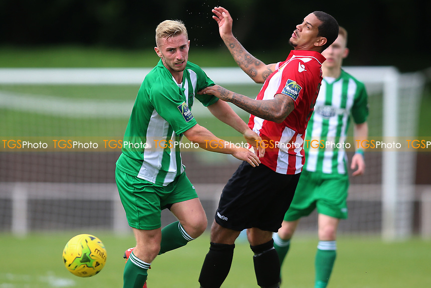 Leon McKenzie and Hornchurch and Harry norman of Soham during AFC Hornchurch vs Soham Town Rangers, Bostik League Division 1 North Football at Hornchurch Stadium on 12th August 2017