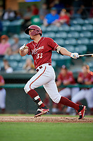 Altoona Curve left fielder Logan Hill (53) follows through on a swing during a game against the Richmond Flying Squirrels on May 15, 2018 at Peoples Natural Gas Field in Altoona, Pennsylvania.  Altoona defeated Richmond 5-1.  (Mike Janes/Four Seam Images)