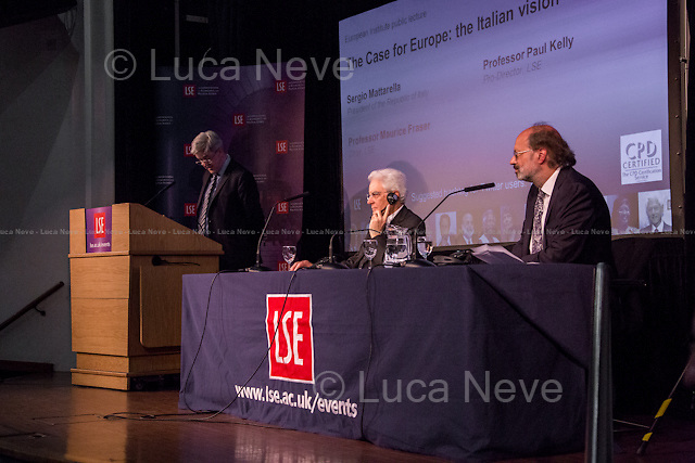 (From L to R) Paul Kelly, Sergio Mattarella &amp; Maurice Fraser. <br /> <br /> London, 28/05/2015. Today, the LSE (London School of Economics and Political Studies) European Institute presented a public lecture called &quot;The Case for Europe: the Italian vision&quot; hosted by the President of the Italian Republic Sergio Mattarella (Italian Politician, lawyer and judge; he is the 12th President of the Italian Republic; he was a member of Parliament from 1983 to 2008 elected for the Christian Democracy Party in the western Sicily constituency; he served as Minister of Education from 1989 to 1990, as Deputy Prime Minister of Italy from 1998 to 1999 and as Minister of Defence from 1999 to 2001. In 2011, he became an elected judge on the Constitutional Court). Chairs of the event were Paul Kelly (Pro-Director at LSE, Professor of Political Philosophy at LSE, and Head of the Department of Government) and Maurice Fraser (Senior Fellow in European Politics at LSE, Director Agora Projects - publishing. Senior Counselor, APCO Worldwide. Special Adviser to UK Foreign Secretaries Douglas Hurd, John Major and Sir Geoffrey Howe, 1989 - 1995).<br />  <br /> Here there is the link to the podcast to listen the lecture: http://bit.ly/1FlfM9V