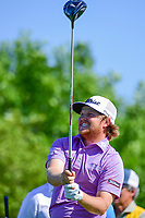 Zac Blair (USA) watches his tee shot on 18 during round 1 of the Shell Houston Open, Golf Club of Houston, Houston, Texas, USA. 3/30/2017.<br /> Picture: Golffile   Ken Murray<br /> <br /> <br /> All photo usage must carry mandatory copyright credit (&copy; Golffile   Ken Murray)