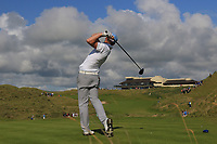 Robert Brazill (Naas) on the 18th tee during the Final of the AIG Irish Amateur Close Championship 2019 in Ballybunion Golf Club, Ballybunion, Co. Kerry on Wednesday 7th August 2019.<br /> <br /> Picture:  Thos Caffrey / www.golffile.ie<br /> <br /> All photos usage must carry mandatory copyright credit (© Golffile | Thos Caffrey)