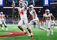 Ohio State Buckeyes wide receiver K.J. Hill (14) celebrates after a 25-yard touchdown during the third quarter of a NCAA Division I college football game between the TCU Horned Frogs and the Ohio State Buckeyes on Saturday, September 15, 2018 at AT&T Stadium in Arlington, Texas. [Joshua A. Bickel/Dispatch]