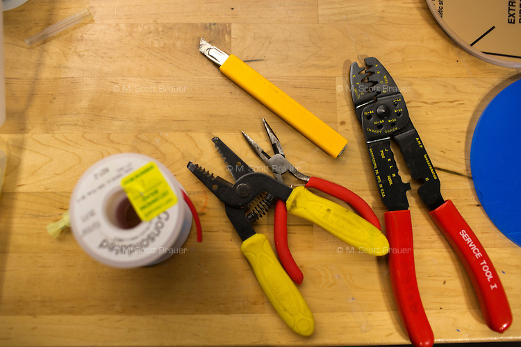 Tools lay on a desk at MIT's Media Lab in Cambridge, Massachusetts, USA.