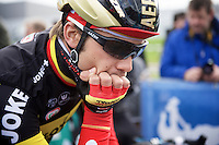 a contemplative Belgian Champion Jens Debusschere (BEL/Lotto-Soudal) at the start<br /> <br /> 3 Days of De Panne 2015