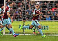 Andre Gray of Burnley celebrates the second goal for his team during the Premier League match between Swansea City and Burnley at The Liberty Stadium, Swansea, Wales, UK. Saturday 04 March 2017