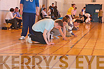 THE 5 CENT MILE: Declan McCrohan, Laura O'Sullivan and Joe Roche keeping the pace going as the clock runs down at the World Record Attempt in Mercy, Mounthawk School Gym on Monday afternoon.   Copyright Kerry's Eye 2008