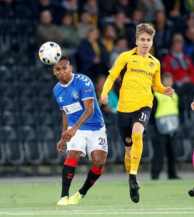 03.10.2019 Young Boys of Bern v Rangers: Alfredo Morelos and Gianluca Gaudino