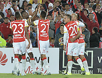 BOGOTÁ -COLOMBIA, 19-07-2015. Yair Arrechea (segundo desde Izq) jugador de Independiente Santa Fe celebra el segundo gol de su equipo anotado a Cucuta Deportivo durante partido entre Independiente Santa Fe y Cucuta Deportivo por la fecha 2 de la Liga Aguila II 2015 jugado en el estadio Nemesio Camacho El Campin de la ciudad de Bogota. / Yair Arrechea (second from L) player of Independiente Santa Fe celebrates the second goal o his team scored to Cucuta Deportivo during a match between Independiente Santa Fe and Cucuta Deportivo for the second date of the Liga Aguila II 2015 played at the Nemesio Camacho El Campin Stadium in Bogota city. Photo: VizzorImage/ Gabriel Aponte / Staff