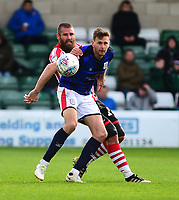 Crewe Alexandra's Chris Porter shields the ball from Lincoln City's Michael Bostwick<br /> <br /> Photographer Andrew Vaughan/CameraSport<br /> <br /> The EFL Sky Bet League Two - Lincoln City v Crewe Alexandra - Saturday 6th October 2018 - Sincil Bank - Lincoln<br /> <br /> World Copyright &copy; 2018 CameraSport. All rights reserved. 43 Linden Ave. Countesthorpe. Leicester. England. LE8 5PG - Tel: +44 (0) 116 277 4147 - admin@camerasport.com - www.camerasport.com