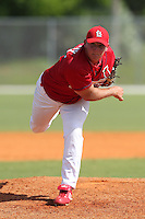 St. Louis Cardinals minor league pitcher Aaron Terry #52 delivers a pitch during a spring training game vs the New York Mets at the Roger Dean Sports Complex in Jupiter, Florida;  March 24, 2011.  Photo By Mike Janes/Four Seam Images