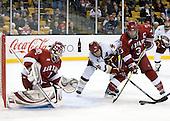 John Riley (Harvard - 1), Ben Smith (BC - 12), Alex Biega (Harvard - 3) - The Boston College Eagles defeated the Harvard University Crimson 6-0 on Monday, February 1, 2010, in the first round of the 2010 Beanpot at the TD Garden in Boston, Massachusetts.