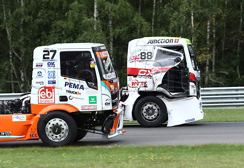 3rd September 2017, Most Racing Track, Most, Czech Republic; FIA European Truck Racing Championship; 3rd race, from left the damaged Gerd KOERBER (GER/Iveco/Team Schwaben Truck) alongside Ryan SMITH (GB/MAN/Oxxo Energy Racing)