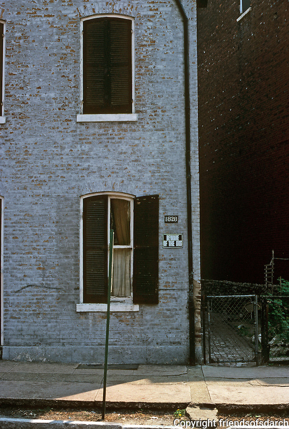 St. Louis: Soulard area--house. Soulard is an historic French neighborhood named after Antoine Soulard, a surveyor and refugee from French Revoluiton. Photo '77.