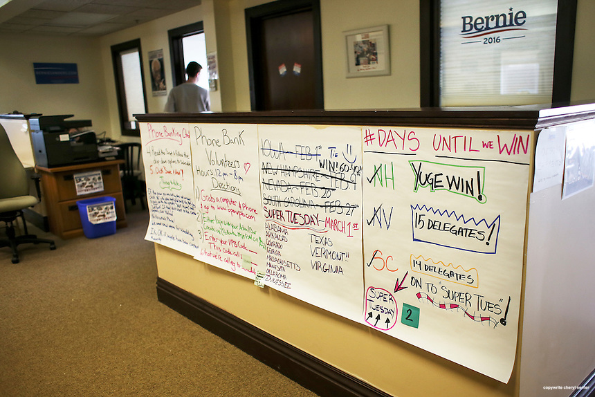 A campaign vision board posted in Bernie Sanders campaign office in Burlington, Vermont the day after Super Tuesday,  Wednesday, March 2, 2016.  CREDIT: Cheryl Senter for The New York Times