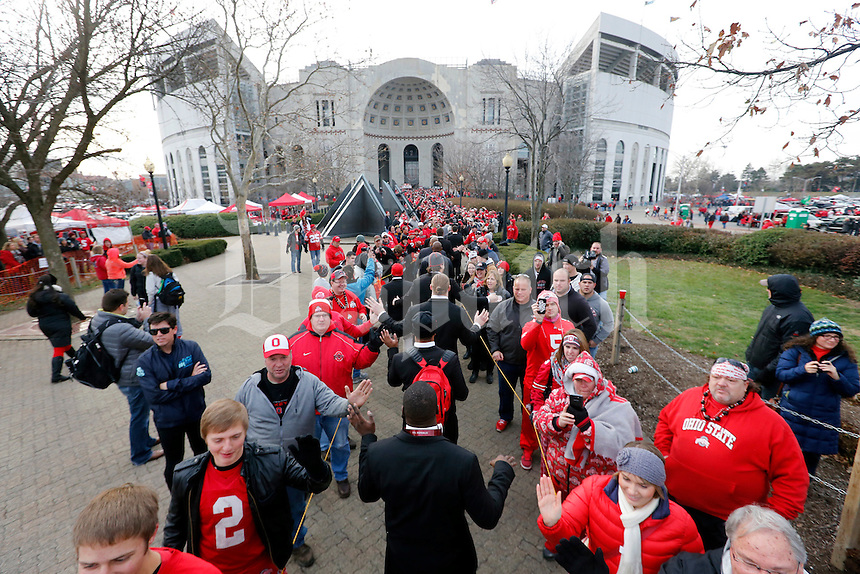 Ohio State Buckeyes players walk into Ohio Stadium before the start of their game against Michigan Wolverines at Ohio Stadium in Columbus, Ohio on November 29, 2014.  (Dispatch photo by Kyle Robertson)