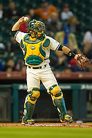 Catcher Josh Ludy #30 of the Baylor Bears throws the ball back to the pitcher against the Utah Utes at Minute Maid Park on March 5, 2011 in Houston, Texas.  Photo by Brian Westerholt / Four Seam Images