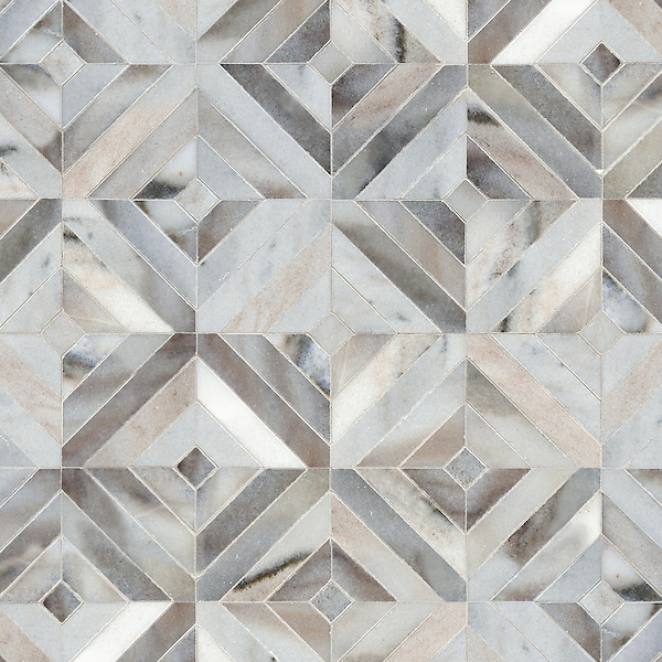 Randall, a hand-cut stone mosaic, shown in honed Cashmere. Designed by Sara Baldwin Designs for New Ravenna.