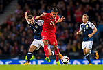 Scotlands James McArthur competes for the ball with Stephen Pisani of Malta during the World Cup Qualifying Group F match at Hampden Park Stadium, Glasgow. Picture date 4th September 2017. Picture credit should read: Craig Watson/Sportimage
