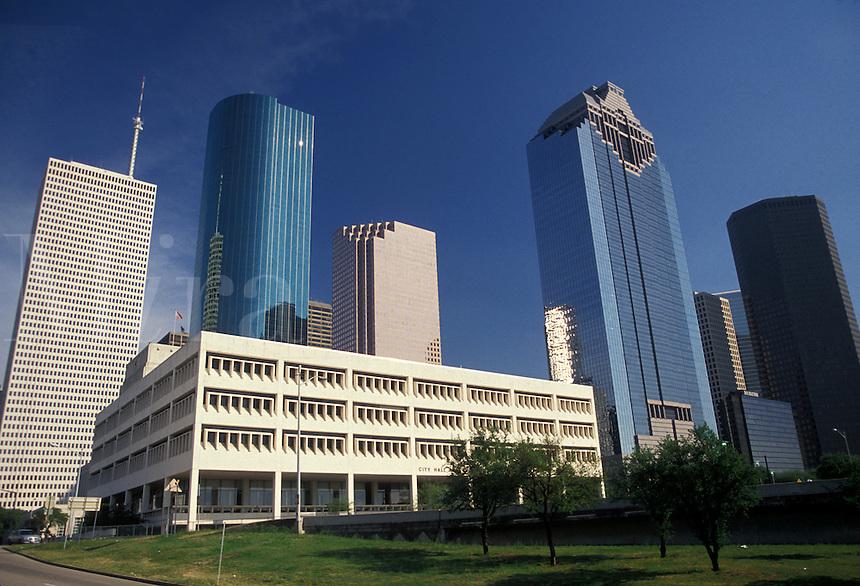 AJ1834, Houston, Texas, skyline, high rise, Skyline of downtown Houston.