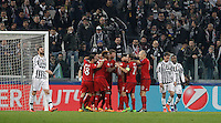 Calcio, andata degli ottavi di finale di Champions League: Juventus vs Bayern Monaco. Torino, Juventus Stadium, 23 febbraio 2016. <br /> Bayern's Thomas Mueller, center, celebrates with teammates after scoring during the Champions League first leg round of 16 football match between Juventus and Bayern at Turin's Juventus Stadium, 23 February 2016.<br /> UPDATE IMAGES PRESS/Isabella Bonotto