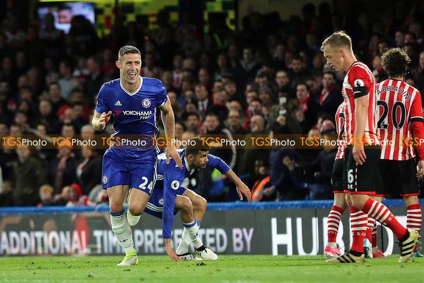 Gary Cahill celebrates scoring Chelsea's second goal during Chelsea vs Southampton, Premier League Football at Stamford Bridge on 25th April 2017