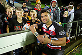 Jonathan Taumateine with young fans after the Mitre 10 Cup rugby game between Counties Manukau Steelers and Taranaki Bulls, played at Navigation Homes Stadium, Pukekohe on Saturday August 10th 2019. Taranaki won the game 34 - 29 after leading 29 - 19 at halftime.<br /> Photo by Richard Spranger.