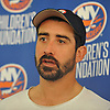 Cal Clutterbuck of the New York Islanders speaks with reporters at the Long Island Marriott in Uniondale on Thursday, Sept. 22, 2016.