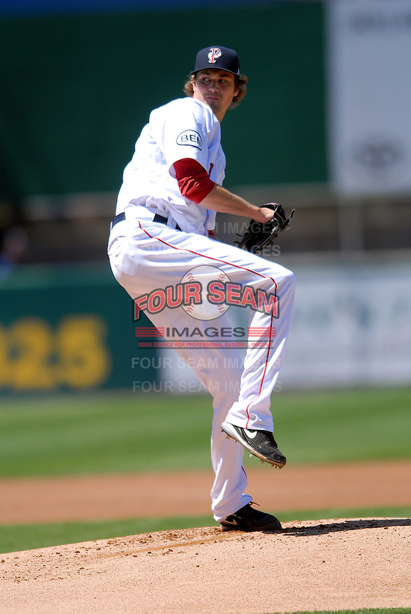 Pitcher Andrew Miller #7 of the Pawtucket Red Sox prior to a game versus the Toledo Mud Hens on May 1, 2011 at McCoy Stadium in Pawtucket, Rhode Island. Photo by Ken Babbitt /Four Seam Images