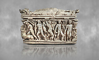 """Roman relief sculpted Hercules sarcophagus with kline couch lid, """"Columned Sarcophagi of Asia Minor"""" style typical of Sidamara, 250-260 AD, Konya Archaeological Museum, Turkey."""
