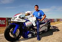 Sept. 25, 2011; Ennis, TX, USA: NHRA pro stock motorcycle rider Hector Arana Jr the runner-up at the Fall Nationals at the Texas Motorplex. Mandatory Credit: Mark J. Rebilas-