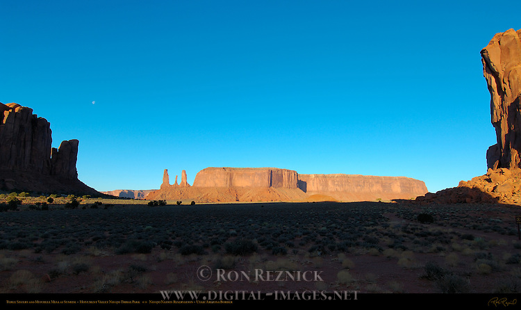 Three Sisters and Mitchell Mesa at Sunrise, Monument Valley Navajo Tribal Park, Navajo Nation Reservation, Utah/Arizona Border
