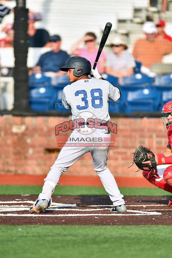 Pulaski Yankees center fielder Everson Pereira (38) awaits a pitch during a game against the Johnson City Cardinals at TVA Credit Union Ballpark on July 7, 2018 in Johnson City, Tennessee. The Cardinals defeated the Yankees 7-3. (Tony Farlow/Four Seam Images)
