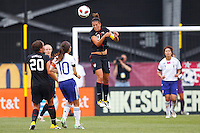 14 MAY 2011: USA Women's National Team midfielder Carli Lloyd (10) heads the ball during the International Friendly soccer match between Japan WNT vs USA WNT at Crew Stadium in Columbus, Ohio.