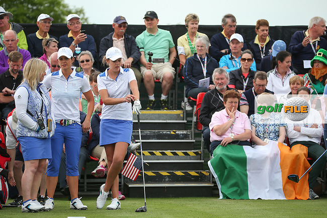 Meghan MacLaren and Maria Dunne on the first tee during Friday Foursomes at the 2016 Curtis Cup, played at Dun Laoghaire GC, Enniskerry, Co Wicklow, Ireland. 10/06/2016. Picture: David Lloyd | Golffile. <br /> <br /> All photo usage must display a mandatory copyright credit to &copy; Golffile | David Lloyd.
