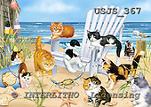 Janet, REALISTIC ANIMALS, paintings, Kitties at the Beach 5 x 7, USJS367,#a# realistische Tiere, realista, illustrations, pinturas
