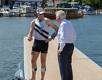 """Henley on Thames, United Kingdom, 3rd July 2018, Saturday,  """"Henley Royal Regatta"""",  View, Henley Reach, Mahe DRYSDALE (Left) in discussion with Bill BARRY, after heat of Diamond Challenge Sculls ' River Thames, Thames Valley, England, UK."""