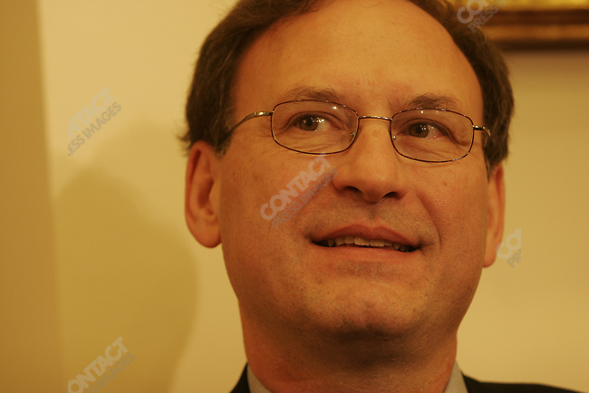 Supreme Court nominee Judge Samuel Alito, visiting senators on capital hill (Orrin Hatch, and John Kyl). Washington DC. Nov 1, 2005