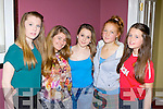 Chloe West, Jacqlyn O'Connor, Shania O'Sullivan, Lucy Knight and Alanna O'Sullivan  at the Killorglin Community College fashion show in the Manor Inn on Friday night